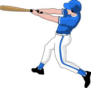Baseball Player Clipart Image Batter At Bat Swinging At
