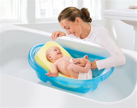 baby in a bathtub comfy bath sponge summer infant baby products
