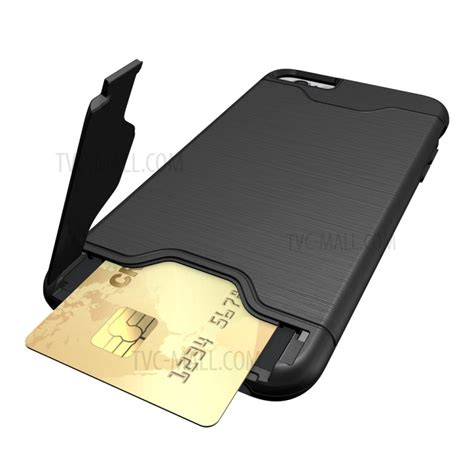 Ss5904 Brushed Combination Protective Iphone 6 6s Black brushed pc tpu hybrid card slot for iphone 6s 6 with kickstand black tvc mall