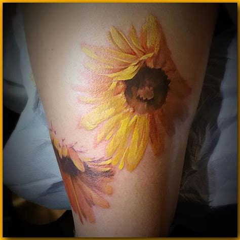 watercolor sunflower tattoo pin by king on tattoos