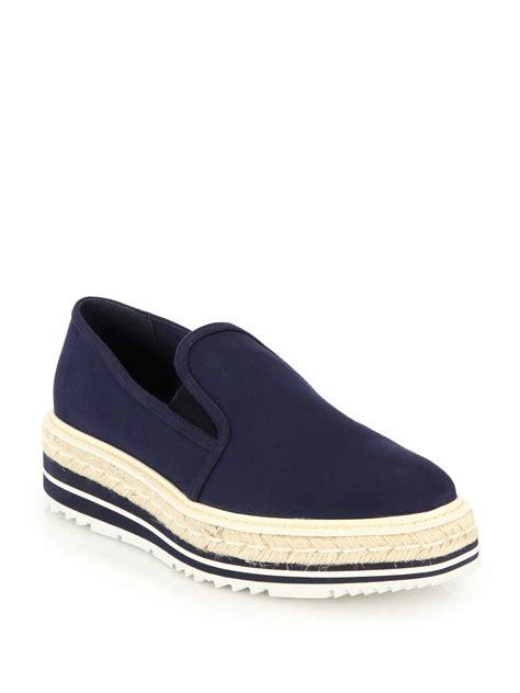slide on sneakers lyst prada platform espadrille canvas slip on sneakers