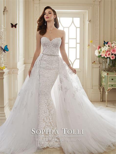 Set 2in1 Peplum Joan two lace tulle wedding dress tolli y11652