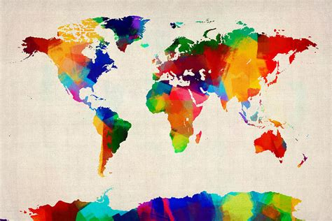 watercolor political map of the world digital art by michael tompsett map of the world map digital art by michael tompsett