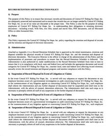 Document Retention Policy Template by Sle Document Retention Policy 12 Documents In Word Pdf