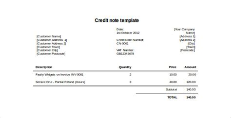 Credit Note Format In Word Free Credit Invoice Template Invoice Template 2017