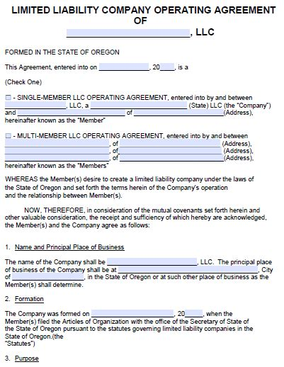 Free Oregon Llc Operating Agreement Template Pdf Word Articles Of Organization Oregon Template