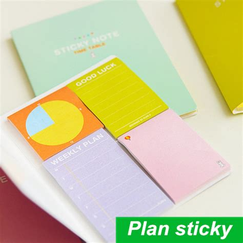 Weekly Plan Sticky Memo Pad Stick It Memo Limited 4 pcs lot sticky note weekly plan study plan time table check list post it notes stickers