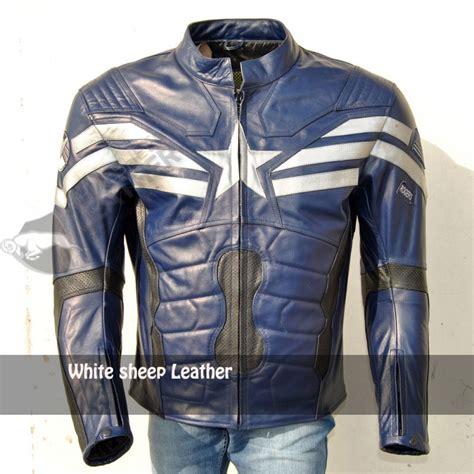 blue motorbike jacket captain america stealth strike leather jacket