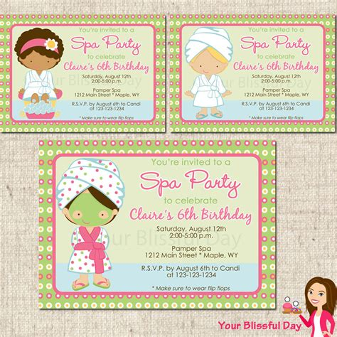 printable invitations on etsy printable girl spa party invitation character by