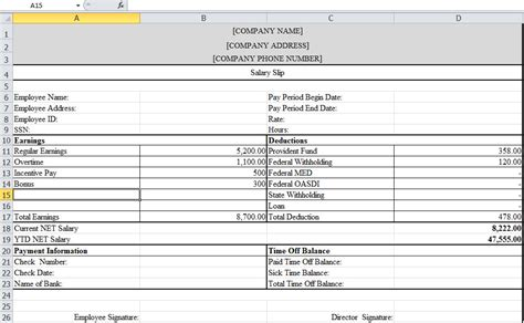 Payment Slip Template Excel by Payslip Template In Excel