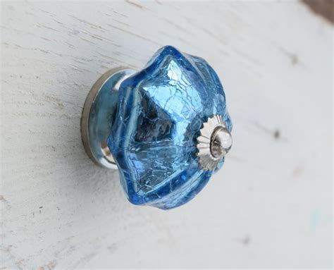 Blue Glass Knobs by Blue Crackle Glass Drawer Knobs Blue Mercury Glass On A