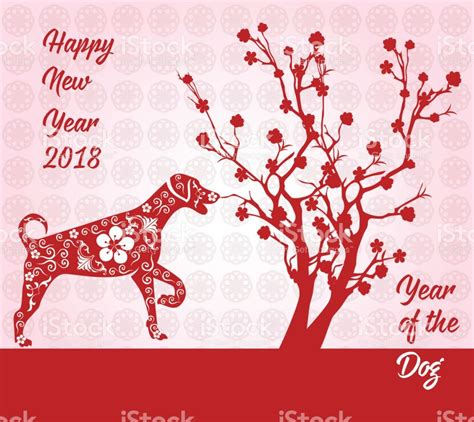 new year 2018 china happy new year 2018 card year of stock vector