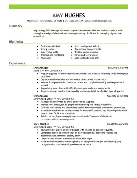 Resume Sle For Restaurant Assistant Manager Assistant Restaurant Manager Resume Resume Format