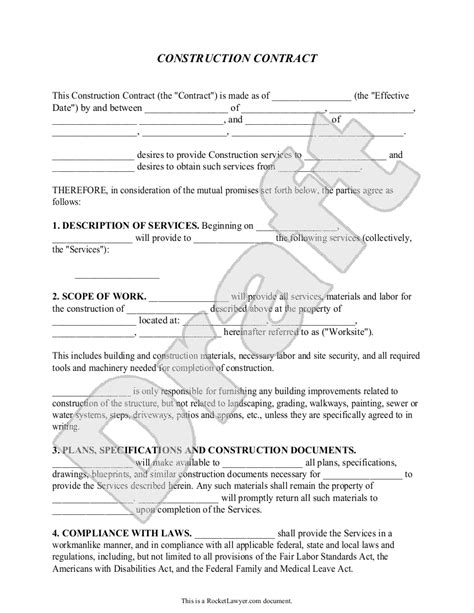 building agreement template construction contract template construction agreement
