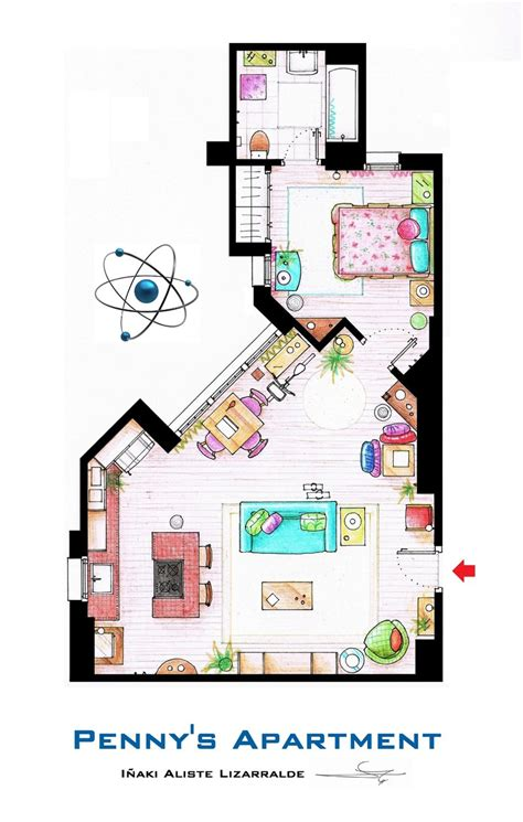 tv show apartment floor plans penny s apartment from tbbt by nikneuk on deviantart