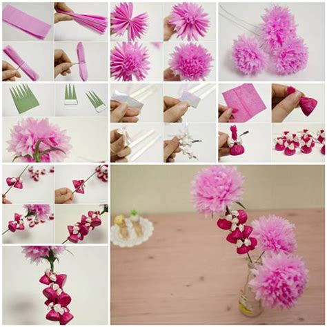 How To Make Flower With Crepe Paper - how to make beautiful crepe paper flowers and chocolates