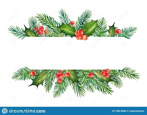 christmas element  watercolor branches  holly