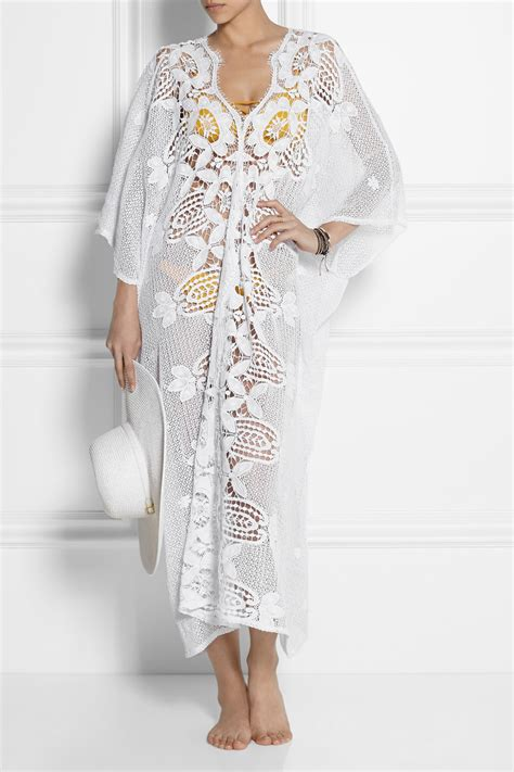 kaftan white miguelina crocheted cotton lace kaftan in white lyst