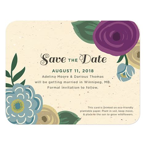 Save The Date Cards by Floral Seed Paper Save The Date Card Plantable