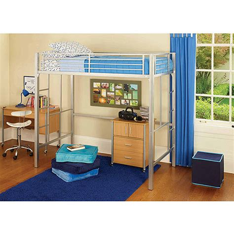 Your Zone Metal Loft Twin Bed With Bonus Mattress Walmart Metal Bunk Bed