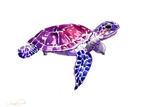 watercolor tattoo turtle sea turtle original watercolor painting 9 x 12 in