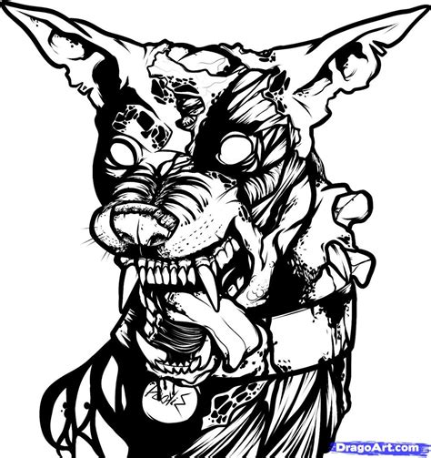 zombie dog coloring page how to draw a zombie dog zombie dog step by step