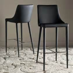 Bar Stools Black Leather by Sleek Black Leather Lebron Bar Stool