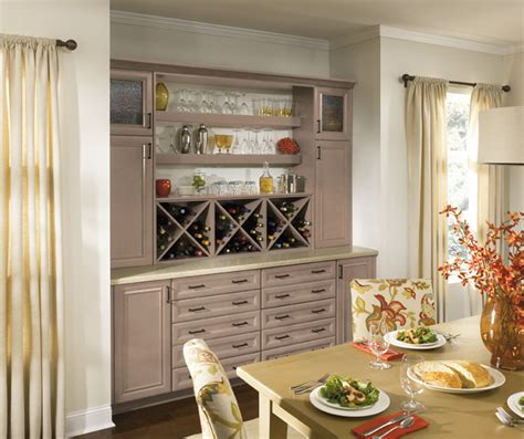 Dining Room Cabinets in Light Grey Finish   Kitchen Craft
