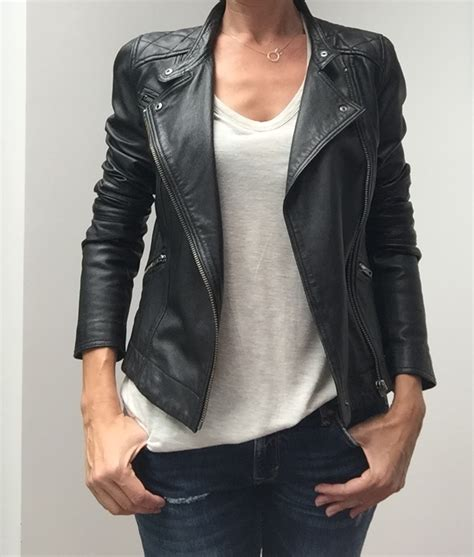 veste en cuir comptoir des cotonniers blouson en cuir comptoir des cotonniers noir mode femme