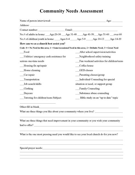 Free Stuff Barnabas Missions Unlimited Church Needs Assessment Template