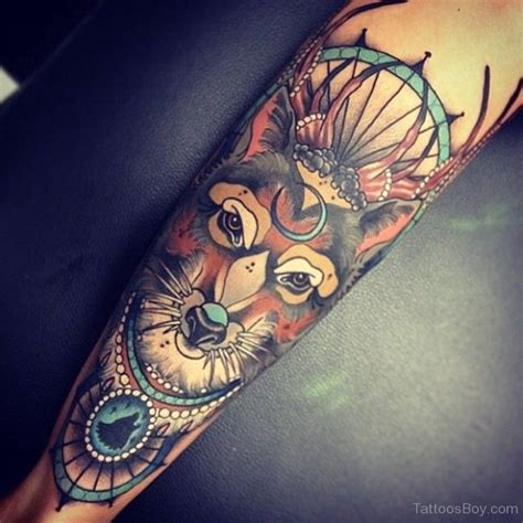 traditional colored fox tattoo on sleeve tattoo designs