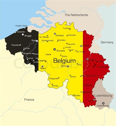 map of belgium and abstract vector color map of belgium country coloured by