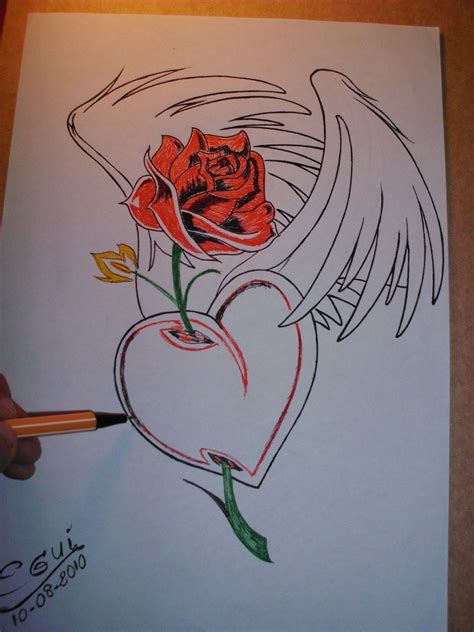 imagen de amor de una rosa con corazones rosados bocetos de graffitis de corazones graffiti art collection