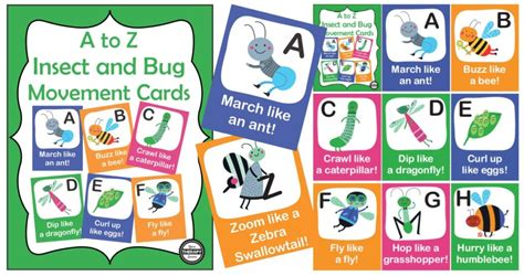 printable alphabet movement cards a to z insect and bug movement cards your therapy source