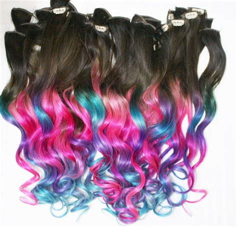 color tip hair weave ombre dip dyed hair clip in hair extensions tie dye tips