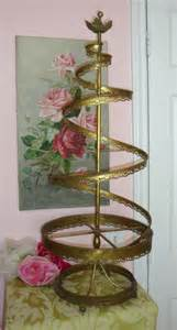 antique decorative brass toleware spiral tree stand holiday