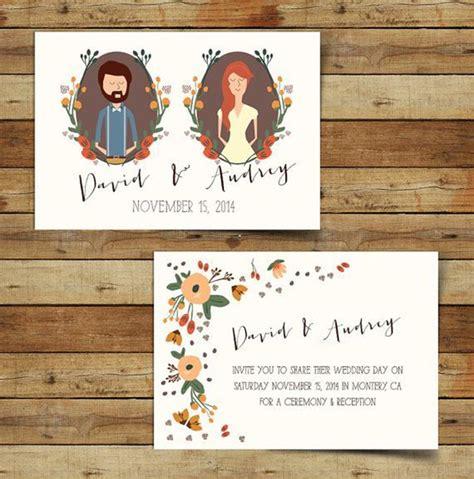 hochzeitseinladung zeichnung mariage d automne les petites mari 233 es