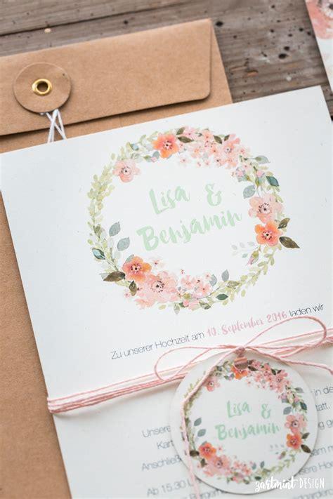 Hochzeitseinladung Boho by Hochzeitseinladungen Mit Blumenkranz Auf Naturpapier Mit