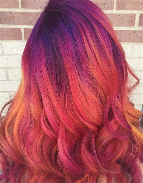 colorful hair this mix of colors dyedhair hairdye colorful hair