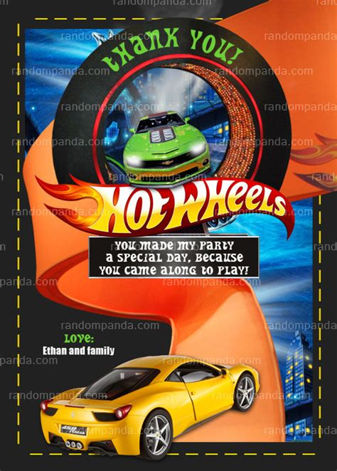 printable birthday cards hot wheels hot wheels thank you card hot wheels party by therandompanda