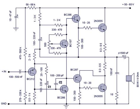 transistor lifier 50 w transistor lifier electronic circuits and diagrams electronic projects and design