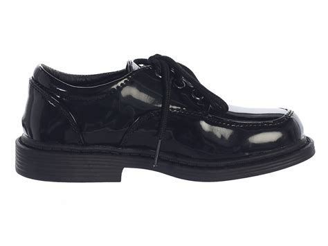 boys black patent lace up shoes