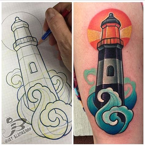 tattoo old school lighthouse new school lighthouse tattoo by jay blackburn tattoonow