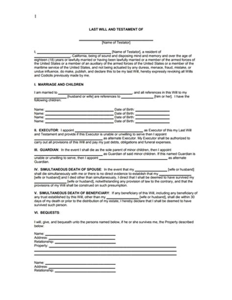 free template for last will and testament last will and testament template doliquid