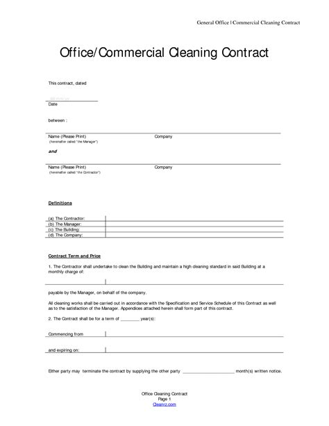 janitorial service contract template basic service contract mughals