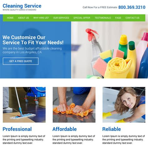 Responsive Cleaning Services Website Template For Best Conversion Cleaning Service Website Template