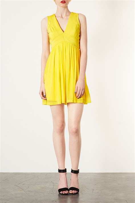 Topshop Vs by Lyst Topshop Bandage V Skater Dress In Yellow