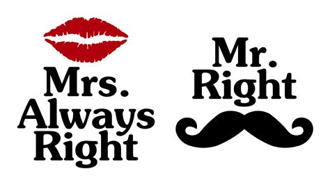 coffee mug decal set mr right mrs always by sageandserendipity