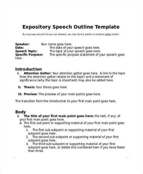 Expository Essay Outline by Speech Outline Exle Expository Speech Outline Template In Word Format Speech