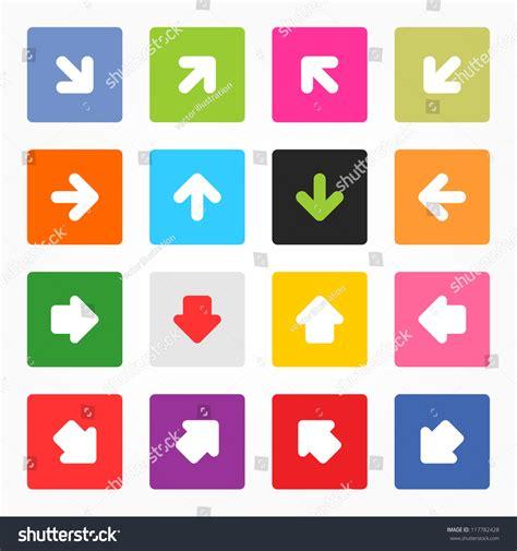 arrow label color sticker satin icon web button arrow sign icon set simple minimal stock vector 117782428